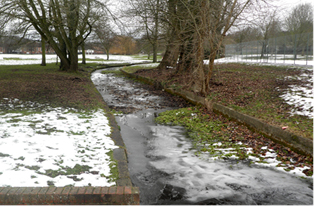 Canalised river bank in Desborough
